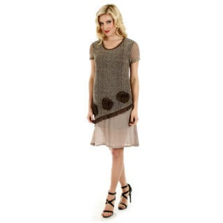 Firmiana Women's Brown Short Sleeve Lace Dress with Floral Accent Pieces