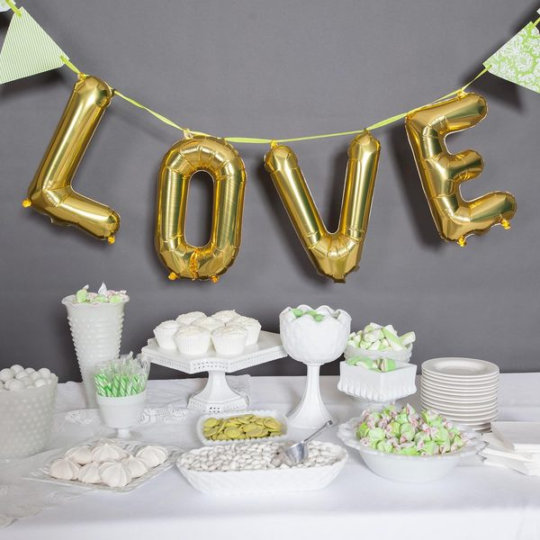 """34"""" Love Balloon Kit, Gold"""