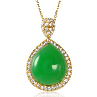 Gold over Silver Green Chrysoprase and Cubic Zirconia Pendant