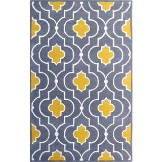 Hand-tufted Wool Yellow/ Grey Moroccan Rug (3' x 5')