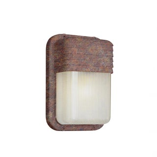 Cambridge 1-light Rust 6.5-inch Outdoor Flush Mount with Clear Ribbed Polycarbonate