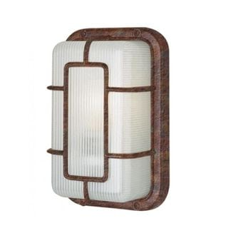 Cambridge 1-light Rust 6.5-inch Outdoor Flush Mount with Frosted Polycarbonate