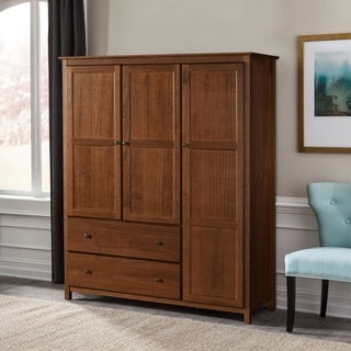Shaker 3-door Espresso Finished Solid Wood Wardrobe