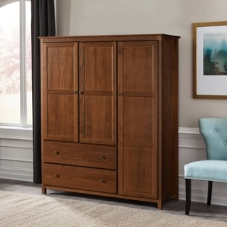 Grain Wood Furniture Shaker 3-door Solid Wood Wardrobe