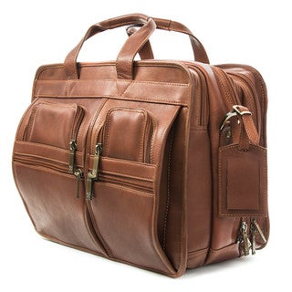 Muiska Madrid Colombian Leather Triple Compartment Briefcase