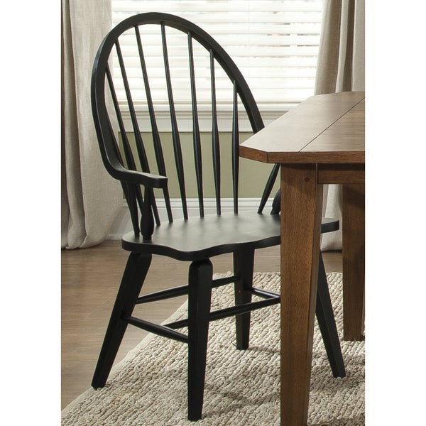 Hearthstone Traditional Rustic Black Windsor Arm Chair