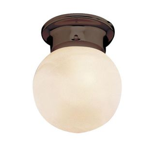 Cambridge Rubbed Oil Bronze 1-light Flush Mount with Marbelized Shade