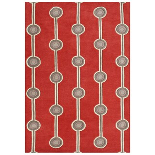 Alliyah Hand-made Fiery Red New Zealand Blend Wool Rug (8x10)