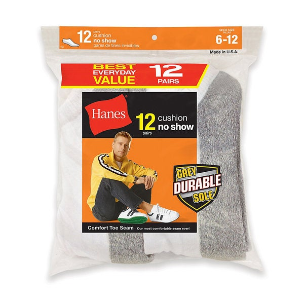 Hanes Men's No-Show Socks 12-Pack