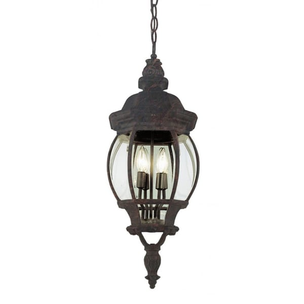 Cambridge 4-light Black Copper 32-inch Outdoor Hanging Lantern with Beveled Glass