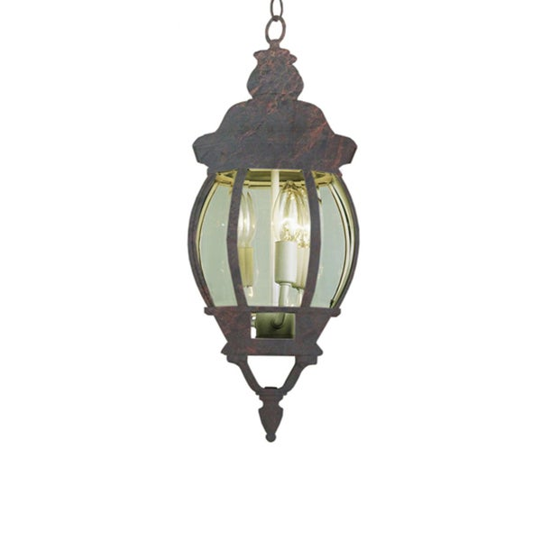 Cambridge 3-light Black Copper 25-inch Outdoor Hanging Lantern with Beveled Glass