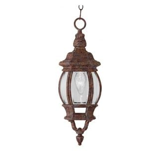 Cambridge 1-light Rust 20.5-inch Outdoor Hanging Lantern with Beveled Glass