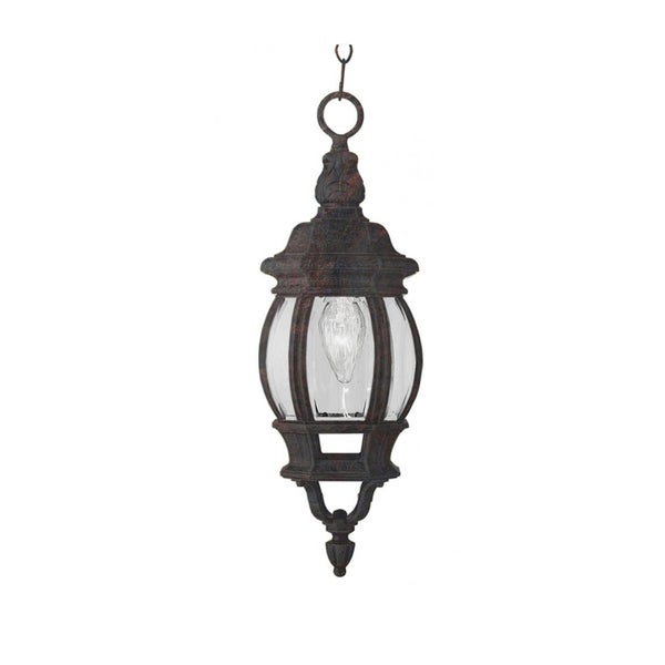 Cambridge 1-light Black Copper 20.5-inch Outdoor Hanging Lantern with Beveled Glass