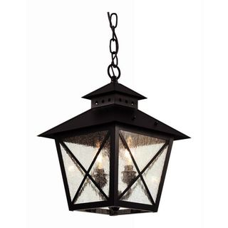 Cambridge 2-light Black 14.5-inch Outdoor Hanging Lantern with Seeded Clear Glass