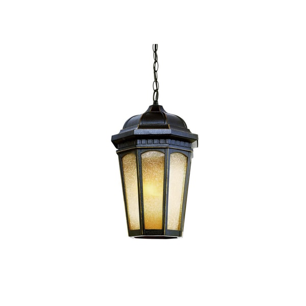 Cambridge 1-light Weathered Bronze 14-inch Outdoor Hanging Lantern with Tea Stain Glass 15156619