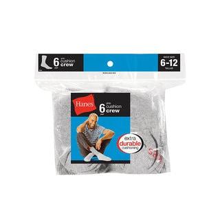 Hanes Men's Grey Cushion Crew Socks 6-Pack