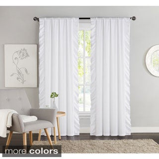 Victoria Classics Amber Side Ruffle Black Out 84-Inch Curtain Panel Pair