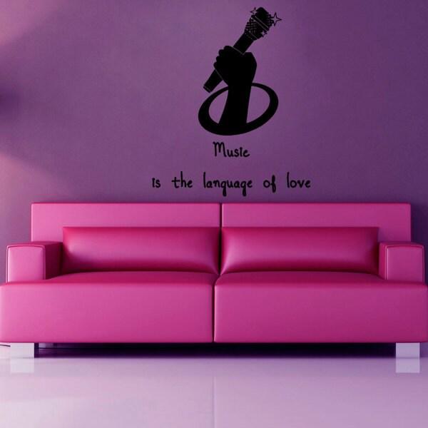 "Music Language of Love"" Quote Vinyl Sticker Wall Art"