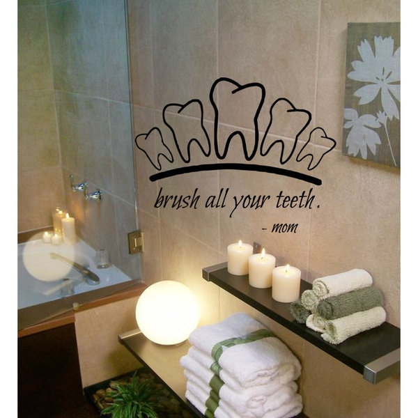 Brush Teeth Quote Vinyl Sticker Wall Art