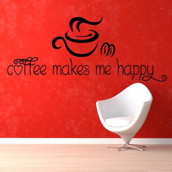 Coffee Makes Me Happy' Sticker Vinyl Wall Art
