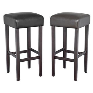 Piper Contemporary Wood with Faux Leather Barstool (Set of 2)