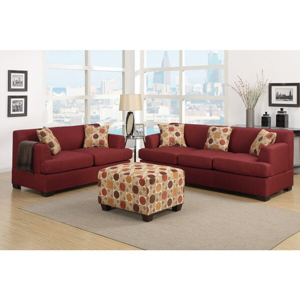 Farsund 2 piece blended linen living room set with for Matching living room furniture sets