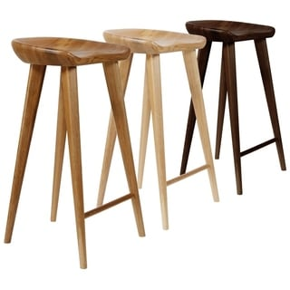 Tractor Contemporary Carved Wood Barstool (Set of 2)