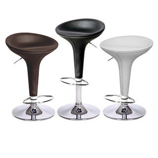 Alpha Leather Contemporary Bombo Style Adjustable Barstool Baseball Stitch (Set of 4)