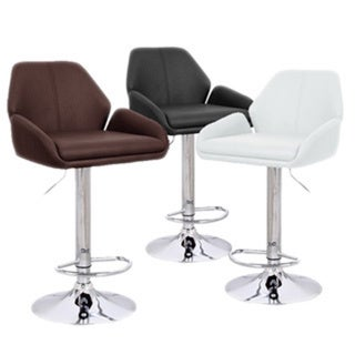 Tesla Contemporary Leather Adjustable Barstool (Set of 4) 15157304