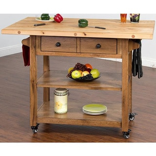 Sunny Designs Sedona Butcher Block Table with Drop Leaf