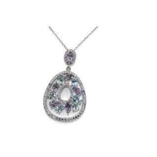 Gioelli Sterling Silver Multi-gemstone Designer Teardrop Necklace