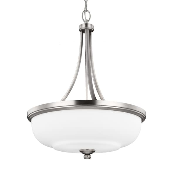 Feiss Vintner 3-uplight Fluorescent or Incandescent Satin Nickel Pendant