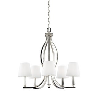 Feiss Pave' 5-light Polished Nickel Crystal Inlay Chandelier