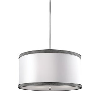 Feiss Pave' 3-light Polished Nickel Crystal Inlay Drum Pendant