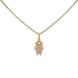 Gioelli 10k Yellow Gold Round-cut Cubic Zirconia Little Girl Charm Necklace