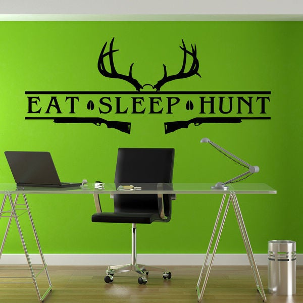 Eat Sleep Hunt Hunting Bow Rifle Deer Sticker Vinyl Wall Art