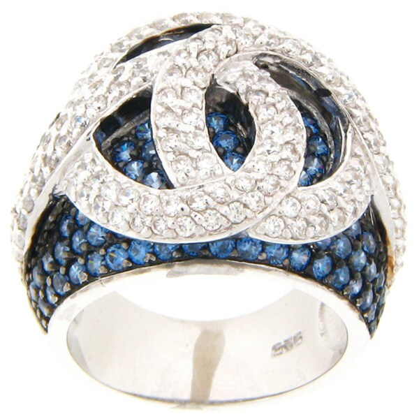 Meredith Leigh Sterling Silver Blue and White Cubic Zirconia Love Knot Ring
