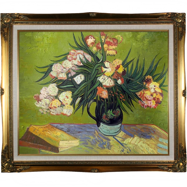 Vincent Van Gogh Majolica Jar with Branches of Oleander, 1888 Hand Painted Framed Canvas Art