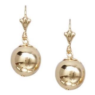 18k Goldplated Gold 12mm Ball Drop Earrings