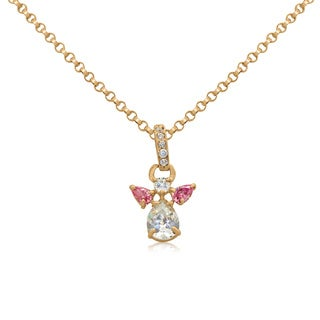 Gioelli 10k Yellow Gold Cubic Zirconia Angel Necklace