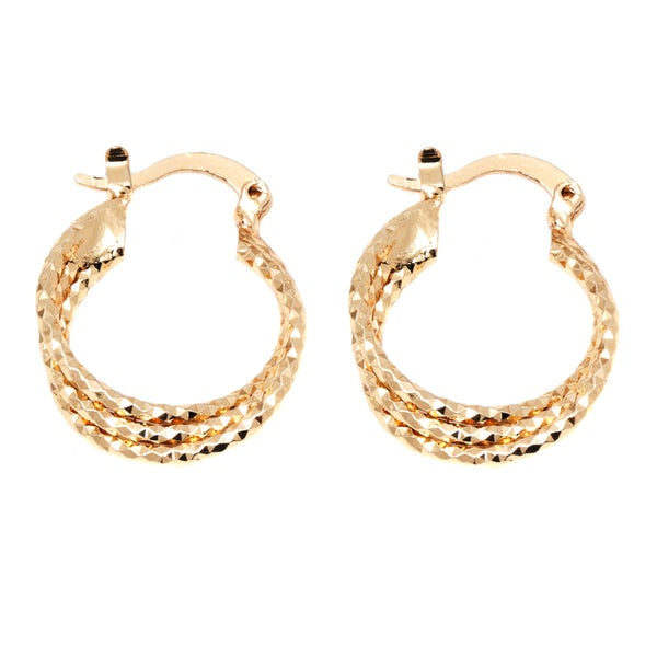 18k Goldplated Triple Layer Twisted Hoop Earrings