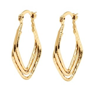 Peermont Jewelry 18k Goldplated Diamond-cut Diamond Hoop Earrings