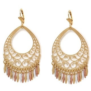 18k Goldplated Three-tone Filigree Cut-out Teardrop Drop Earrings