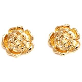 18k Goldplated Gold Rose Stud Earrings