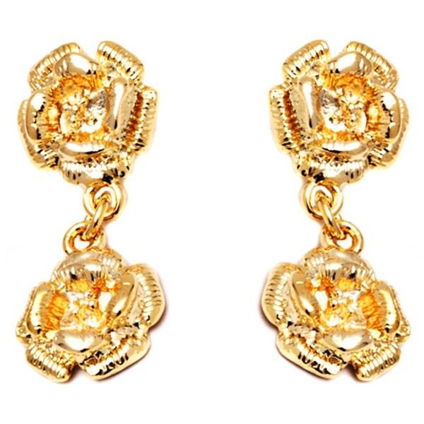 18k Gold Double Rose Drop Earrings