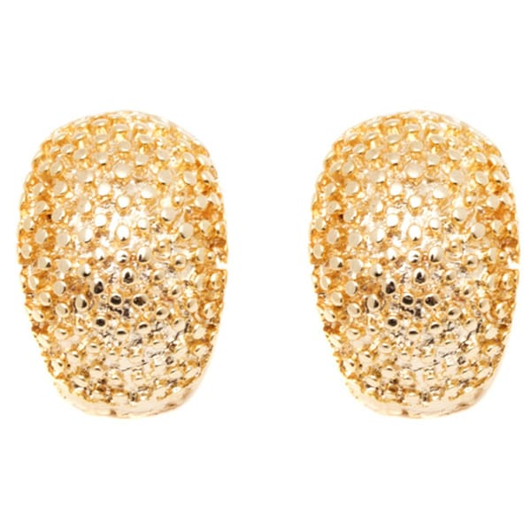18k Gold Textured Oval Drop Earrings