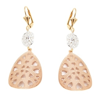 18k Yellow and Rose Gold and Silver Heart Cutout Teardrop Earrings