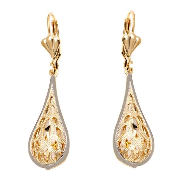 18k Goldplated Gold and Silver Oval Cutout Teardrop Drop Earrings