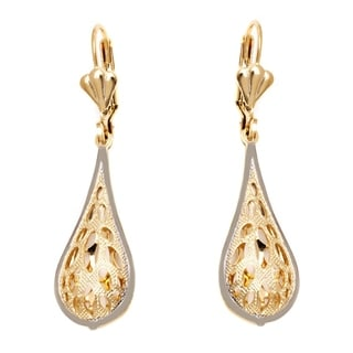 18k Goldplated Gold and Silver Oval Cutout Teardrop Drop Earrings