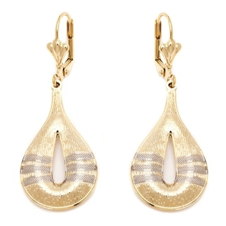 Peermont Jewelry 18k Goldplated Gold and Silver Textured Teardrop Earrings